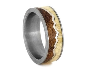 Titanium Ring, Wood Wedding Band With Mesquite Burl And Aspen Wood Inlays, Sterling Silver Mountain Ring