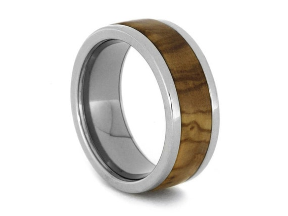 Bethlehem Olive Wood Wedding Band, Titanium Ring For Men or Women, Engravable Ring