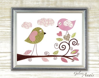 Nursery art prints - kids wall art - baby nursery decor - nursery art - Birds - I Sing For You print  - by GalerieAnais