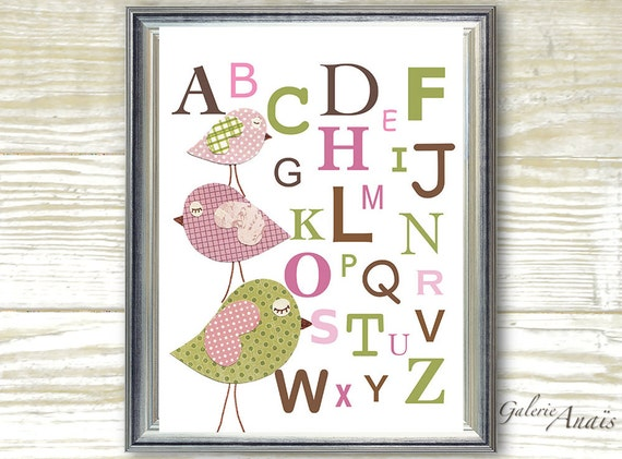 Kids wall art - nursery art - nursery decor - baby nursery print - kids room decor - alphabet nursery - Three Little Birds Alphabet print