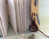 Crystal Journal - Reclaimed leather, Agate Slice, Handmade paper, Handbound with love