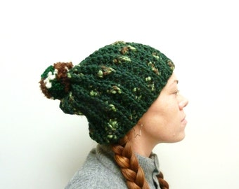 Sale! Dark Green Pom Pom Hat. Chunky & Soft. Animal Friendly Vegan Yarn. Unisex