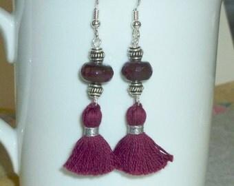 Agate Gemstone Tassel Earrings, Tassel Earrings, Merlot Earrings, Burgundy Tassel Earrings, Tassel Jewelry