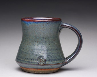 handmade ceramic mug, pottery teacup, coffee cup with blue green and lavender wood ash glazes