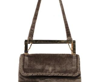 MAZZINI Italian VINTAGE Taupe Velvet SHOULDER bag handbag w/ metal handles