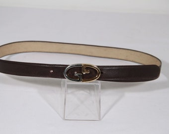 Authentic GUCCI VINTAGE Brown Leather BELT w/ gg buckle size 65/34