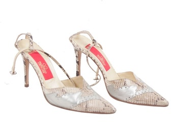 VALENTINO COUTURE Vintage Beige Snakeskin Leather PUMPS Heels shoes 37 1/2 gt