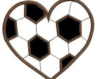 Soccer Ball Heart applique embroidery design in two sizes