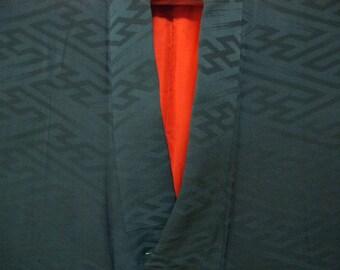 Vintage kimono S498, black  silk