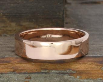 Rose Gold Wedding Band, 5mm Ring Solid 14K, Hand Forged, Smooth Ring, Sea Babe Jewelry