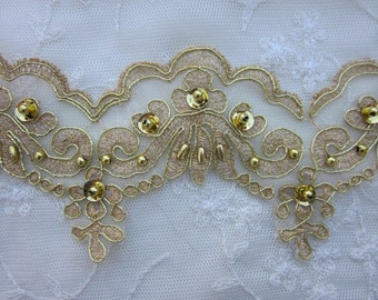 GOLD Beaded Flower Lace Trim Embellished Embroidered Organza Doll Bridal with METALLIC Pearls Sequins Flowers Costume Christmas Holiday