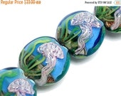 ON SALE 40% OFF New! Four Sea Jellies Lentil Beads 10414312 - Handmade Glass Lampwork Beads