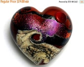 ON SALE 35% OFF Hot Lava Waves Heart (Large) 11833625 - Handmade Glass Lampwork Bead