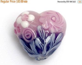 ON SALE 45% OFF Light Pink Flower w/Purple Heart Focal Bead - Handmade Glass Lampwork Bead 11812505