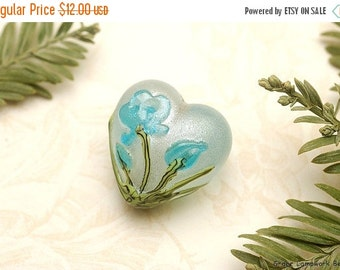 ON SALE 45% OFF Maya Blue FlowerHeart Focal Bead - Handmade Glass Lampwork Bead 11832405