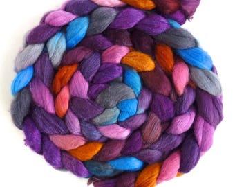 Merino/ Silk Roving (Top) - Handpainted Spinning or Felting Fiber, Late Winter Sunset