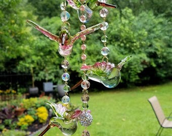 Hummingbirds Antique Crystal Wind Chime, Pink Hummingbirds Wind Chime, Pink and Green Crystal Wind Chime, Garden Decoration, Home Decor