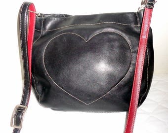 Brighton SMALL cross body bag , purse black buttery smooth leather heart embroidered  vintage 90s gorgeous