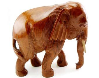 Walking Indian Elephant Wood Carved Figurine Good Luck Pachyderm Statue Circus Zoo Animal Trunk Down