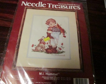Counted Cross Stitch Kit Not For You M. I. Hummel Needle Treasures 02609 CCS Sealed Kit Little Boy with Dog
