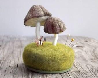 Mushroom Sculpture Woodland Scene - Needle Felted Wool Miniature Display - Nature Decor Table Decor Fiber Art Made To Order