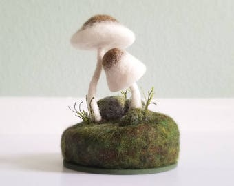 Made To Order - Forest Floor Miniature Mushrooms Sculpture Needle Felted Wool Nature Decor - Mossy Woodland Decor