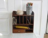 Vintage Wood shelf, Vintage Wood Cabinet, Wood Mail Organizer, Supply Storage, Wood Display, Vintage Wood Box, Wood Drawers