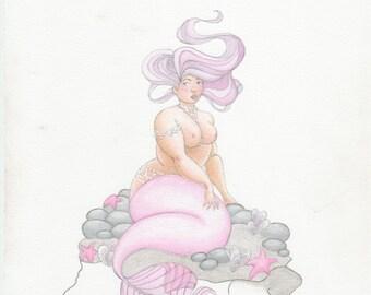 Curvy Mermaid OOAK Painting