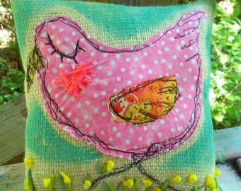 Pink Hen Chicken Freemotion Stitched Rustic Pillow Made to Order YelliKelli