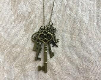 Key Necklace, Steampunk Key Necklace, skeleton key necklace, Steampunk  Jewelry,