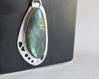 Labradorite Butterfly Wing Necklace - Pierced Silver Necklace - Labradorite Jewelry - Statement Jewelry
