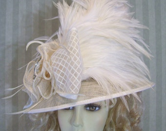 Kentucky Derby Hat, Preakness Hat, IVory Hat, Wedding Hat, Belmont Hat, Easter Hat, Ascot Hat, Victorian Hat, Downton Abbey Hat By Ms.Purdy