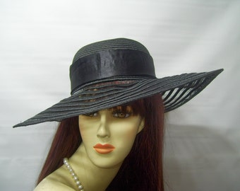Black Kentucky Derby Hat,  Wide Brim Hat To Decorate, Church hat, Wedding Hat, Preakness Hat, Belmont Hat