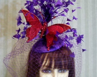 Kentucky Derby Feather Fascinator, ReD Hat Birthday Hat, Purple Feather Fascinator with REd Butterfly, Tea Party Hat, Belmont Stakes