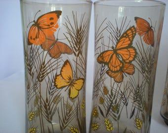 Vintage Glass Tumblers Libbey Smoky Boho Decor Nature Motif Ice Tea Glasses Brown Orange Butterfly Wheat Vintage Glasses