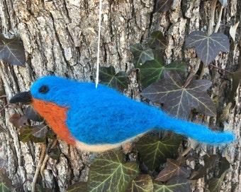 Natural Wool Felted Bluebird Ornament