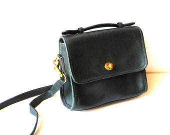 Classy vintage 80s, dark forest green, genuine leather,  cross body, sholder,  court Coach bag.