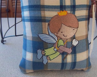 1067 Tooth Fairy Pillow Embroidered on Blue and Tan Plaid Fabric