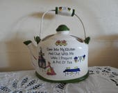 Hand Painted Kitchen Wall Hanging Tea Kettle - Vintage Ceramic - Japan - Wall Pockets
