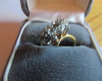 rhinestone flower cluster ring