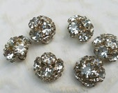 Vintage Button - 6 beautiful matching  flower design rhinestone antique silver finish metal (feb37 17)