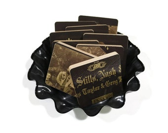 Crosby Stills Nash and Young recycled 1970 album cover handcrafted wood coasters with vinyl record bowl