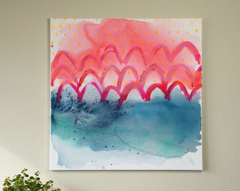 "Colorful Modern Abstract Seascape Mermaid Scale Coastal Art Bright Pink & Blue Beach House Decor Acrylic Painting on Canvas Wall Art 24""x24"""