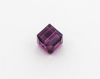Amethyst Swarovski Cube Bead 8mm - FREE WITH 10.00 PURCHASE