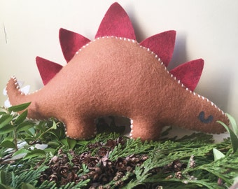Brown Stuffed Plush Dinosaur Felt Toy Nursery Baby