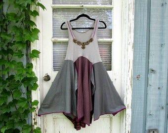 M-L Urban Streetwear Boho Beaded Dress// Upcycled Summer Tank Top Dress// emmevielle