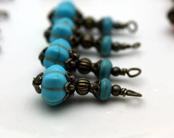 Vintage Style Turquoise Ribbed Melon with Turquoise Howlite and Brass Bead Dangle Charm Drop Set