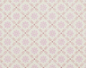 1950s Vintage Wallpaper Pink Floral Geometric by the Yard--Made in England