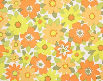 1970s Retro Vintage Wallpaper Vinyl Orange and Yellow Flowers by the Yard
