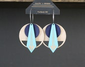 Laser cut earring | ARROW: Blue